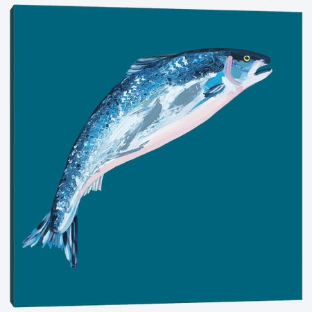Leaping Salmon Canvas Print #AIE18} by Alice Straker Art Print