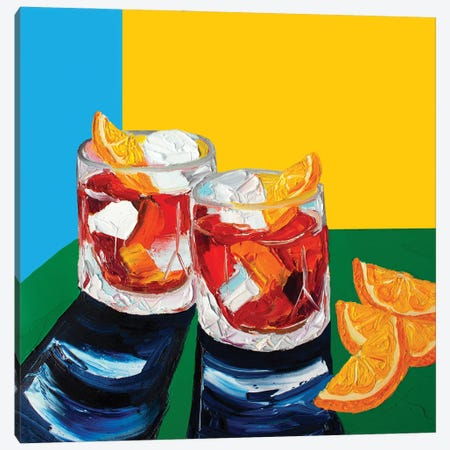 Negronis Blue and Yellow Canvas Print #AIE26} by Alice Straker Canvas Print