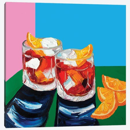 Negronis Pink and Blue Canvas Print #AIE27} by Alice Straker Canvas Print