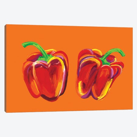 Peppers on Orange Canvas Print #AIE29} by Alice Straker Canvas Art