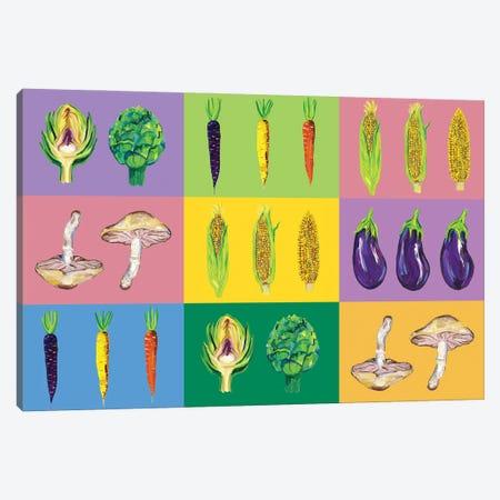 Vegetable Pop Art Canvas Print #AIE39} by Alice Straker Canvas Art Print