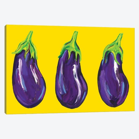 Aubergines on Yellow Canvas Print #AIE4} by Alice Straker Art Print