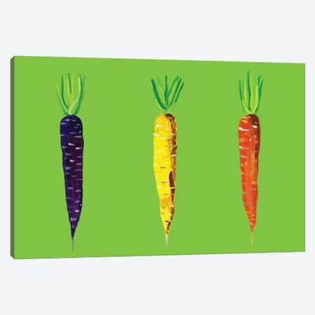 Carrots on Green Canvas Print #AIE7} by Alice Straker Art Print