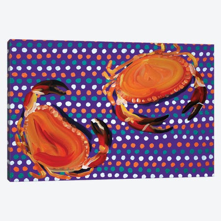 Crabs on Purple Spotty Canvas Print #AIE9} by Alice Straker Canvas Art