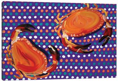 Crabs on Purple Spotty Canvas Art Print