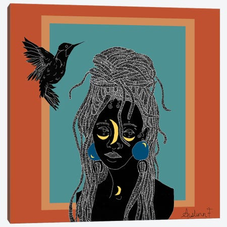 Caged Bird - Orange Canvas Print #AIF11} by Aislinn Finnegan Canvas Wall Art