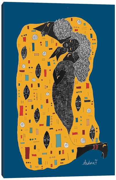 Klimt Noir - Blue Canvas Art Print