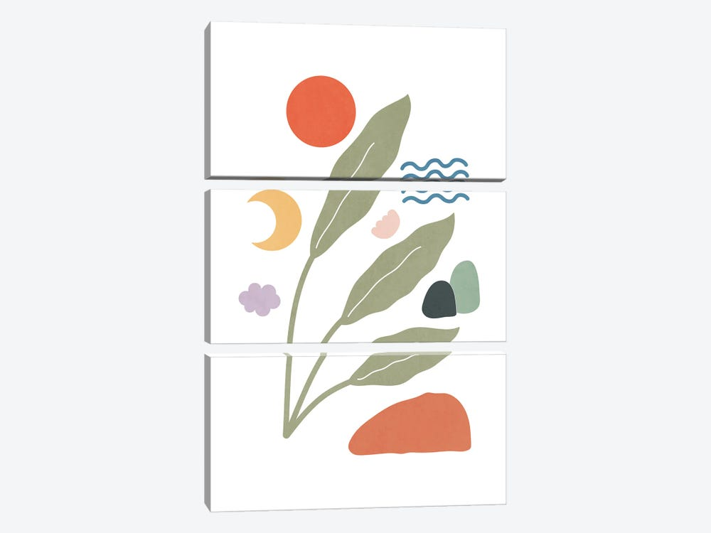 Tropical Foliage Shapes XXIX by amini54 3-piece Canvas Art Print