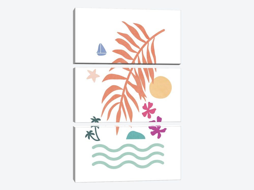 Tropical Foliage Shapes XXXV by amini54 3-piece Canvas Artwork