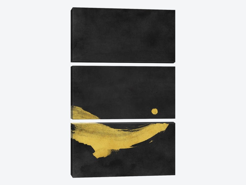 Minimal Landscape Black and Yellow II by amini54 3-piece Canvas Art