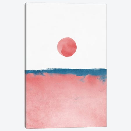 Minimal Landscape Pink and Navy Blue II Canvas Print #AII20} by amini54 Canvas Artwork