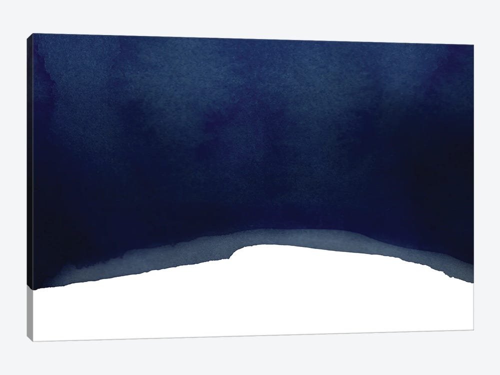 Minimal Navy Blue Abstract II Landscape 1-piece Canvas Art