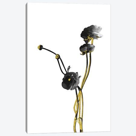 Minimal Botanical - Flower Minimal Black and Gold IV Canvas Print #AII55} by amini54 Canvas Art