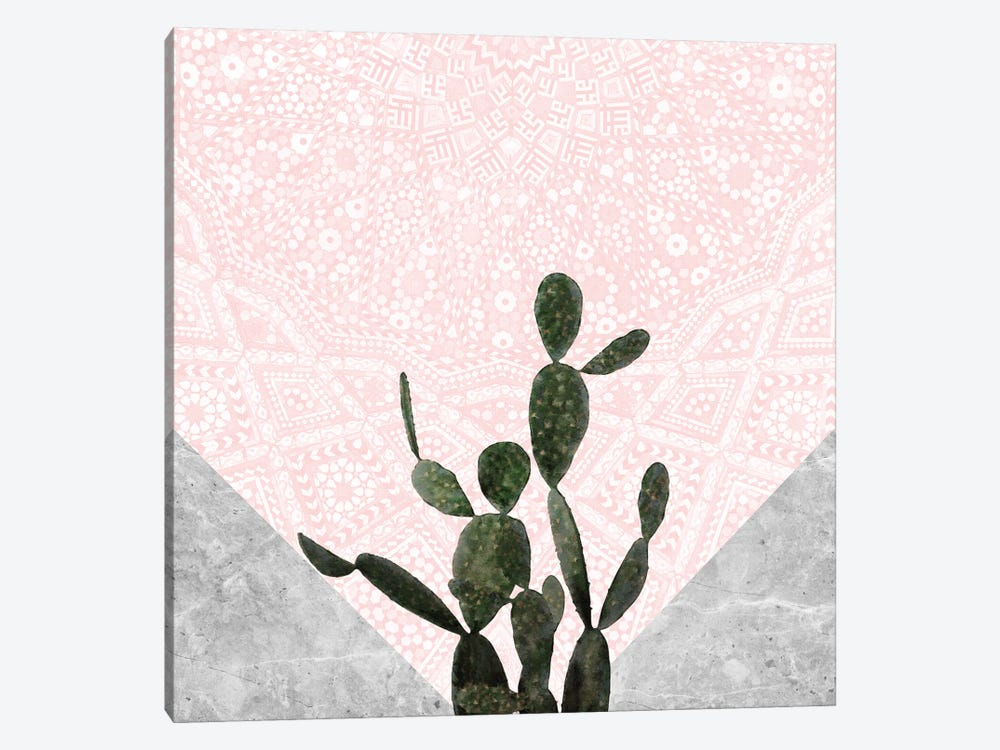 Cactus on Concrete and Pink Persian Mosaic Mandala by amini54 1-piece Canvas Art Print