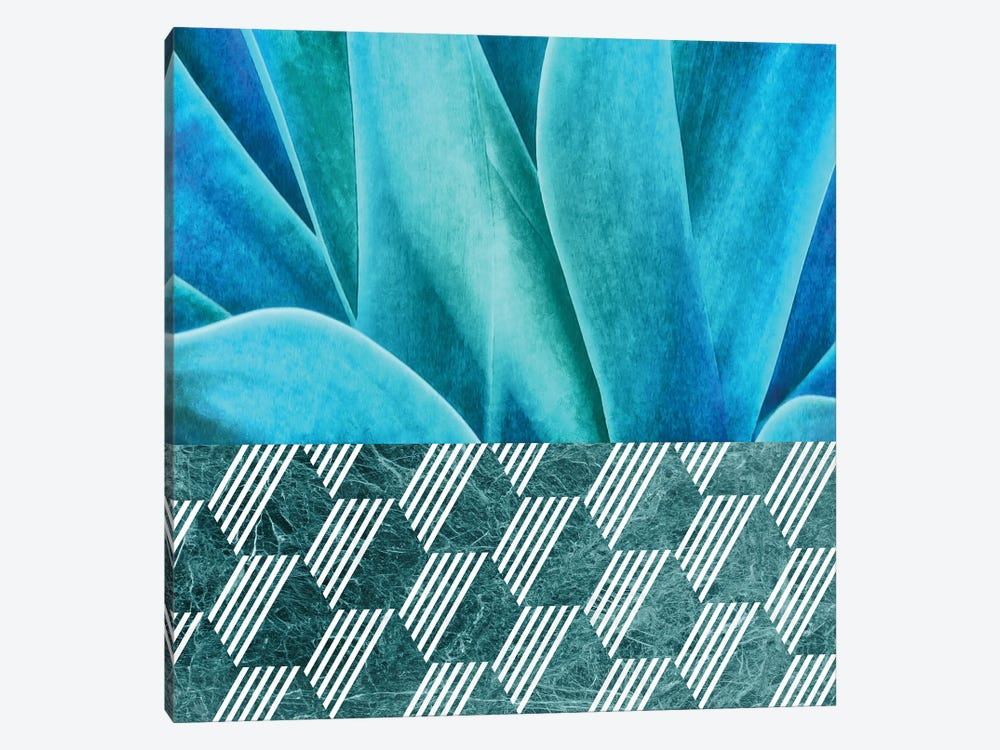 Turquoise Agave on Hexagonal Ceramic Tiles by amini54 1-piece Canvas Artwork