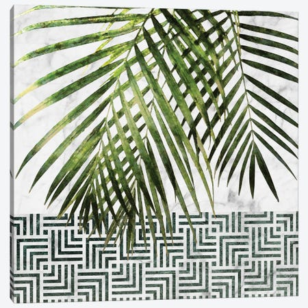 Palm Leaves on White Marble and Tiles Canvas Print #AII86} by amini54 Canvas Print