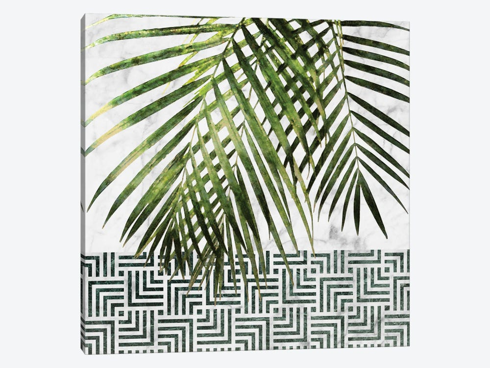 Palm Leaves on White Marble and Tiles by amini54 1-piece Canvas Art Print