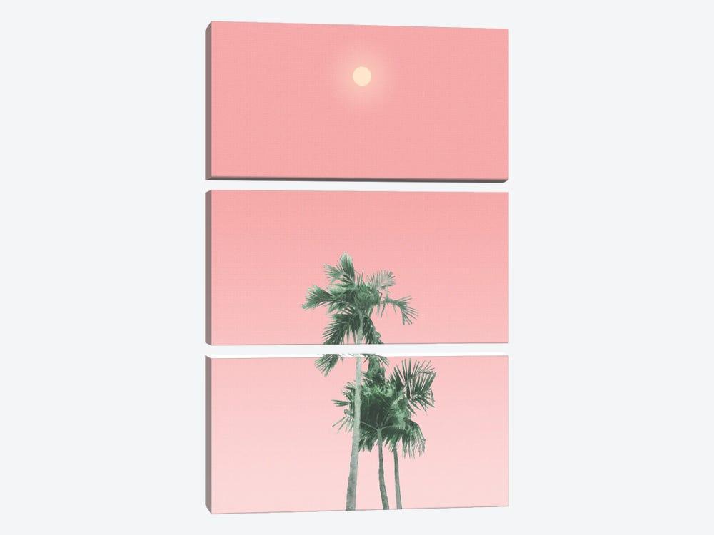 Palm Trees, Sun and Sky by amini54 3-piece Canvas Print