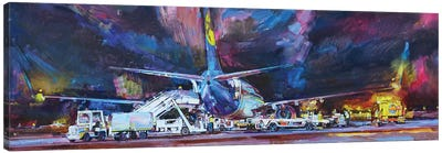 Night Lights Of Airport Canvas Art Print