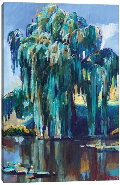 Landscape With Willow Over The Lake Canvas Art Print