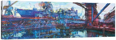 Port With Cargo Ships Canvas Art Print
