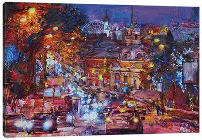 Modern City Night Landscape Canvas Art Print