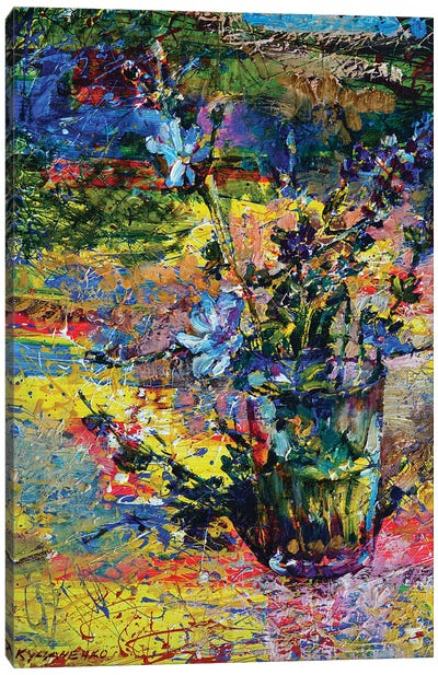 Multicolored Still Life With Blue Wildflowers Canvas Art Print
