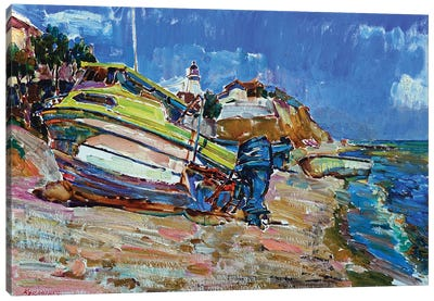 Boats By The Sea Canvas Art Print