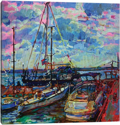 Seascape Scene With Yachts Canvas Art Print