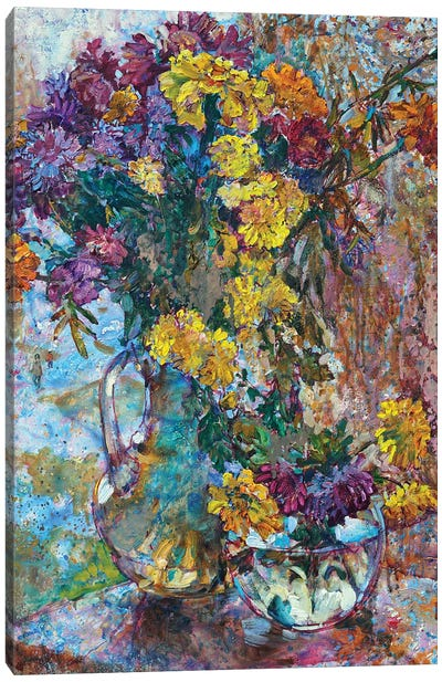 Still Life With Autumn Flowers Canvas Art Print