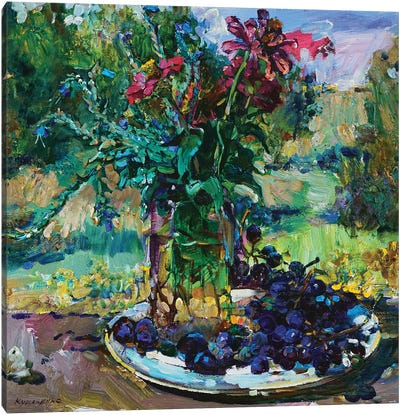 Still Life With Flowers And Grapes Canvas Art Print