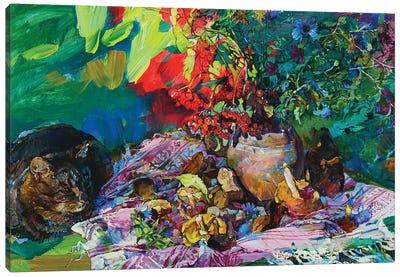 Still Life With A Cat Canvas Art Print