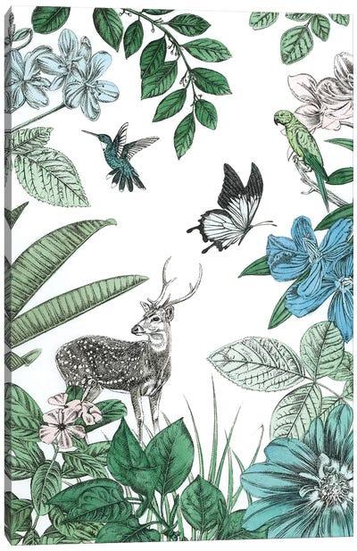 Deer and Flowers Canvas Art Print