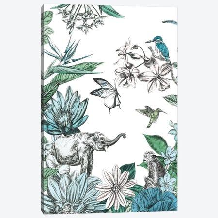 Elephant and Flowers Canvas Print #AIL2} by Amelia Ilangaratne Canvas Print