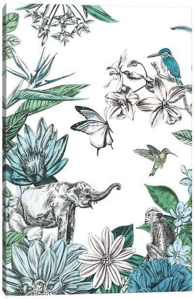 Elephant and Flowers Canvas Art Print
