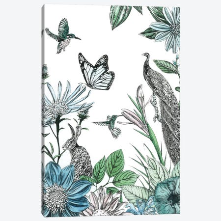Peacock and Flowers Canvas Print #AIL4} by Amelia Ilangaratne Canvas Artwork