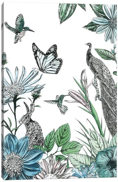 Peacock and Flowers Canvas Art Print