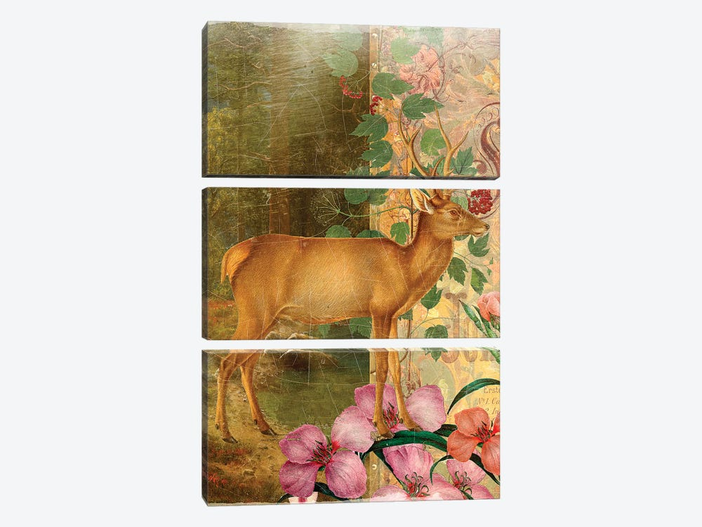 Whimsical Animals Series: Deer by Aimee Stewart 3-piece Canvas Art