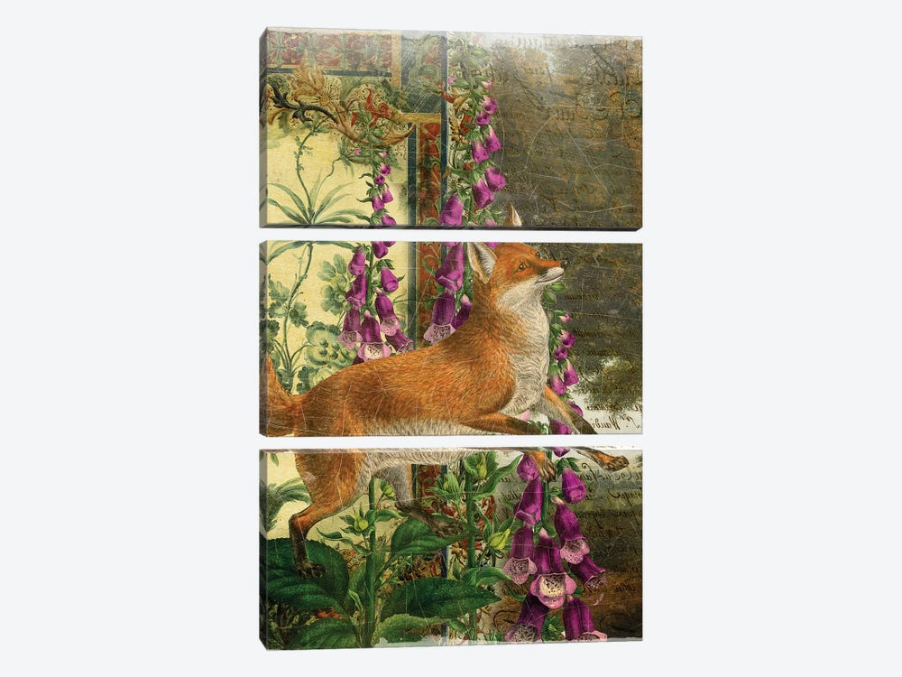 Whimsical Animals Series: Fox by Aimee Stewart 3-piece Canvas Art Print