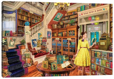 Wish Upon A Bookshop I Canvas Print #AIM39