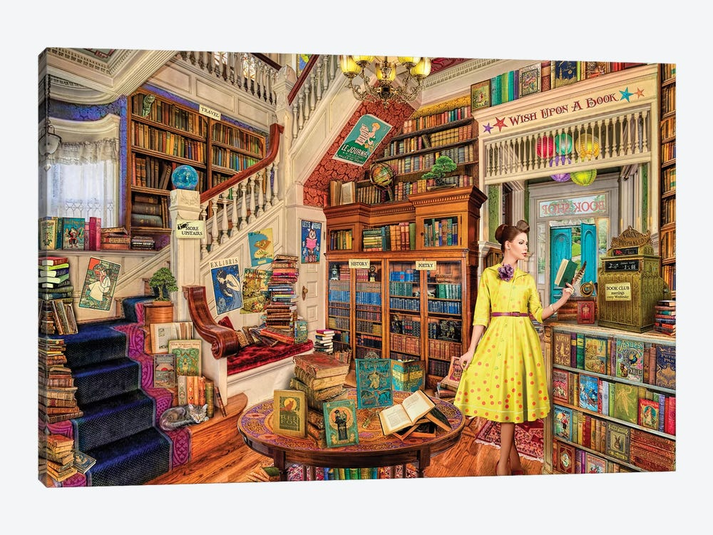 Wish Upon A Bookshop I by Aimee Stewart 1-piece Canvas Wall Art