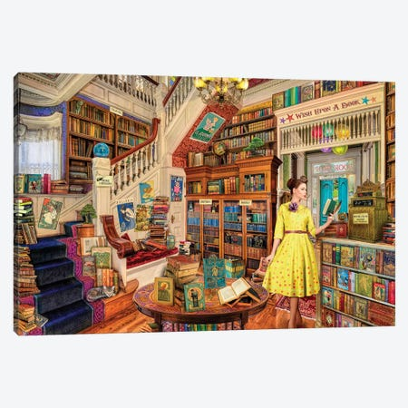Wish Upon A Bookshop I Canvas Print #AIM39} by Aimee Stewart Art Print