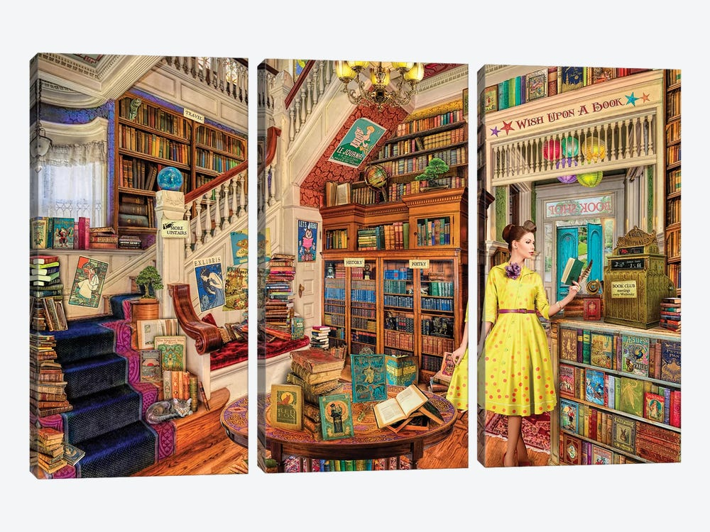 Wish Upon A Bookshop I by Aimee Stewart 3-piece Canvas Wall Art