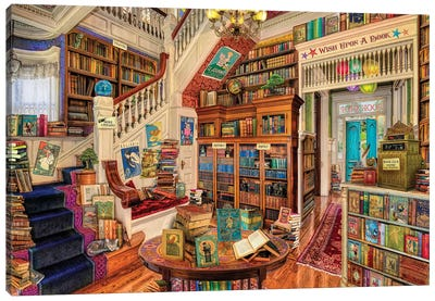Wish Upon A Bookshop II Canvas Art Print