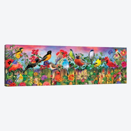 Birds And Blooms Garden I Canvas Print #AIM42} by Aimee Stewart Canvas Wall Art
