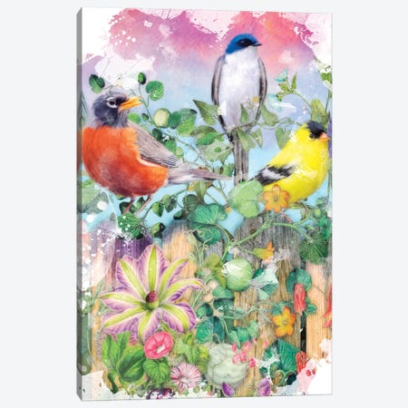 Birds And Blooms Garden II Canvas Print #AIM43} by Aimee Stewart Canvas Art
