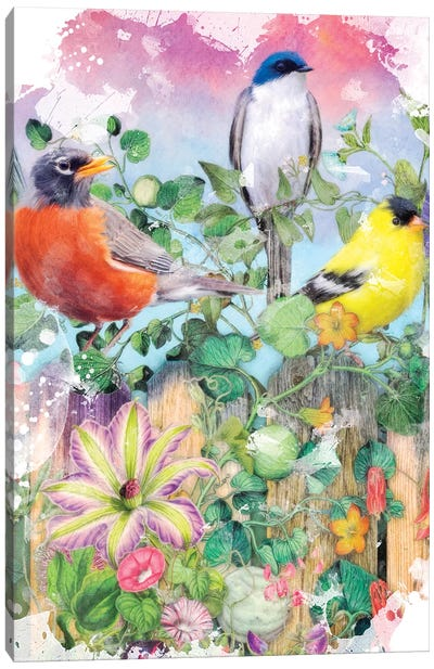 Birds And Blooms Garden II Canvas Art Print