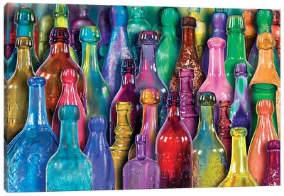 Colorful Glass Bottles Canvas Art Print