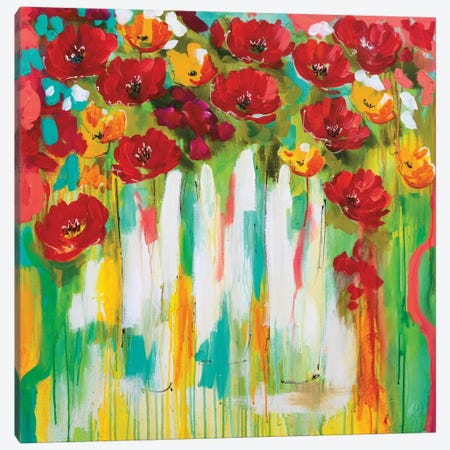 Poppies Glowing Canvas Print #AJB12} by Amanda J. Brooks Canvas Wall Art