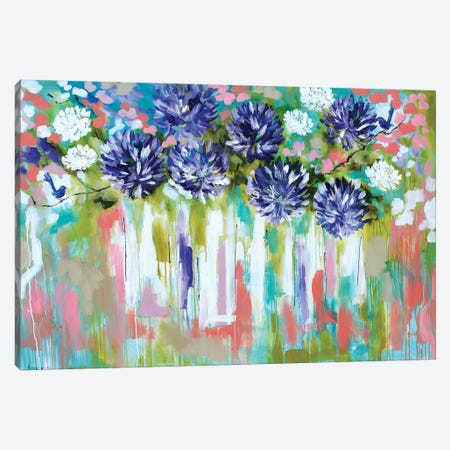 Agapanthus And Splendid Wrens Canvas Print #AJB1} by Amanda J. Brooks Canvas Artwork